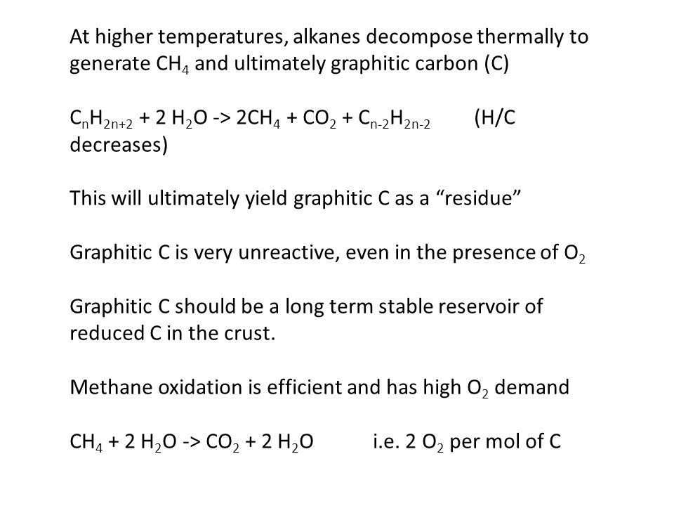 At higher temperatures, alkanes decompose thermally to generate CH 4 and ultimately graphitic carbon (C) C n H 2n+2 + 2 H 2 O -> 2CH 4 + CO 2 + C n-2