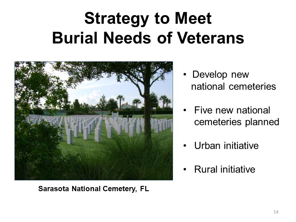 Strategy to Meet Burial Needs of Veterans Develop new national cemeteries Five new national cemeteries planned Urban initiative Rural initiative Sarasota National Cemetery, FL 14