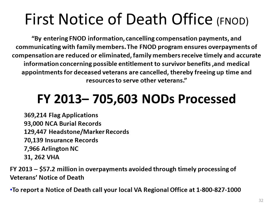 32 By entering FNOD information, cancelling compensation payments, and communicating with family members.