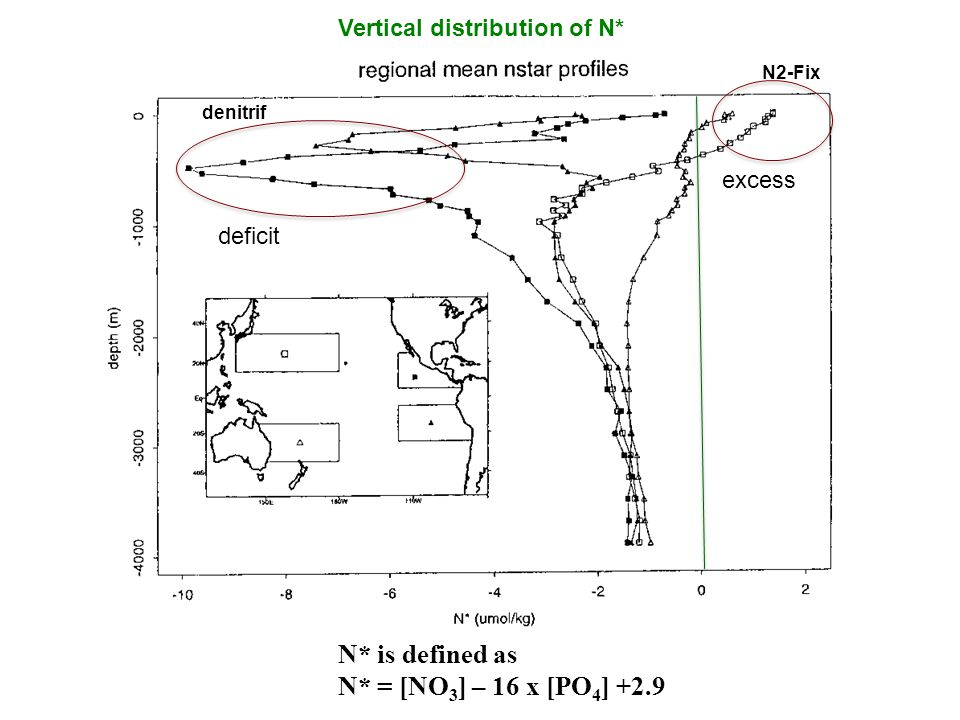 N* is defined as N* = [NO 3 ] – 16 x [PO 4 ] +2.9 Vertical distribution of N* deficit excess N2-Fix denitrif