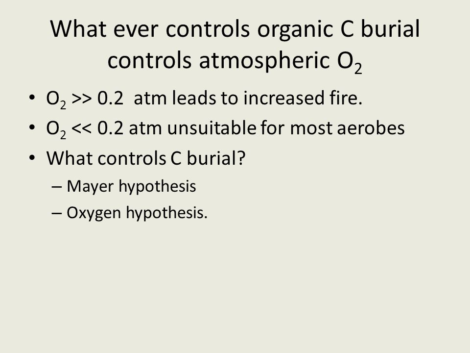 What ever controls organic C burial controls atmospheric O 2 O 2 >> 0.2 atm leads to increased fire. O 2 << 0.2 atm unsuitable for most aerobes What c