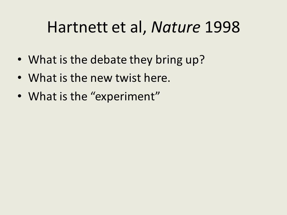 "Hartnett et al, Nature 1998 What is the debate they bring up? What is the new twist here. What is the ""experiment"""