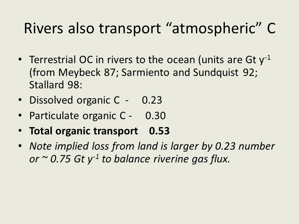 Rivers also transport atmospheric C Terrestrial OC in rivers to the ocean (units are Gt y -1 (from Meybeck 87; Sarmiento and Sundquist 92; Stallard 98: Dissolved organic C - 0.23 Particulate organic C - 0.30 Total organic transport 0.53 Note implied loss from land is larger by 0.23 number or ~ 0.75 Gt y -1 to balance riverine gas flux.