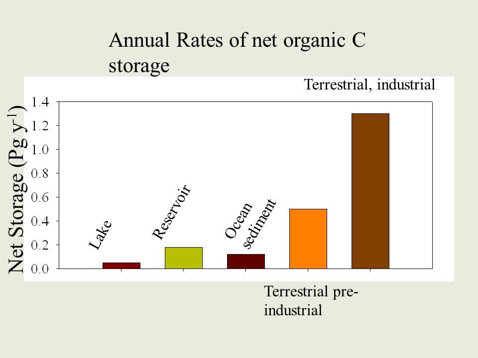 Lake Reservoir Ocean sediment Terrestrial pre- industrial Terrestrial, industrial Net Storage (Pg y -1 ) Annual Rates of net organic C storage