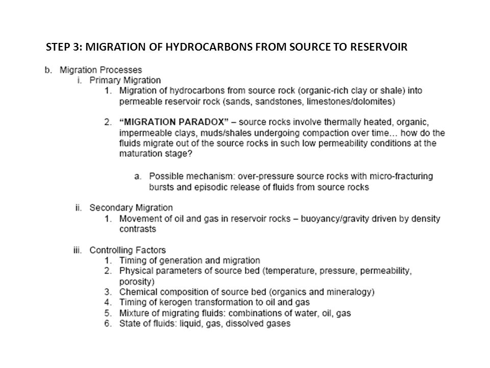 STEP 3: MIGRATION OF HYDROCARBONS FROM SOURCE TO RESERVOIR