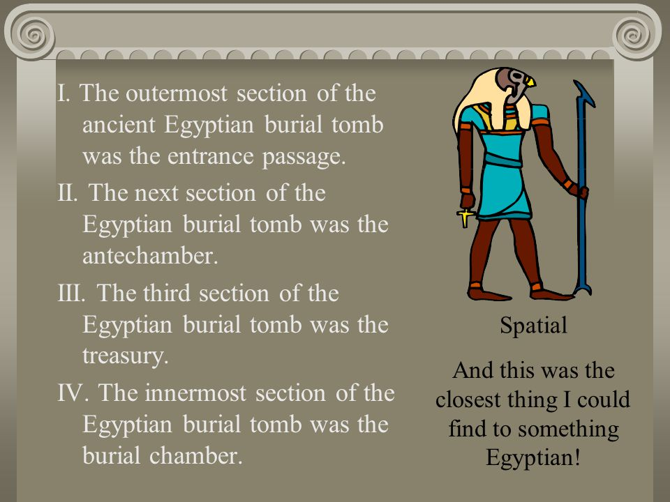 I.The outermost section of the ancient Egyptian burial tomb was the entrance passage.