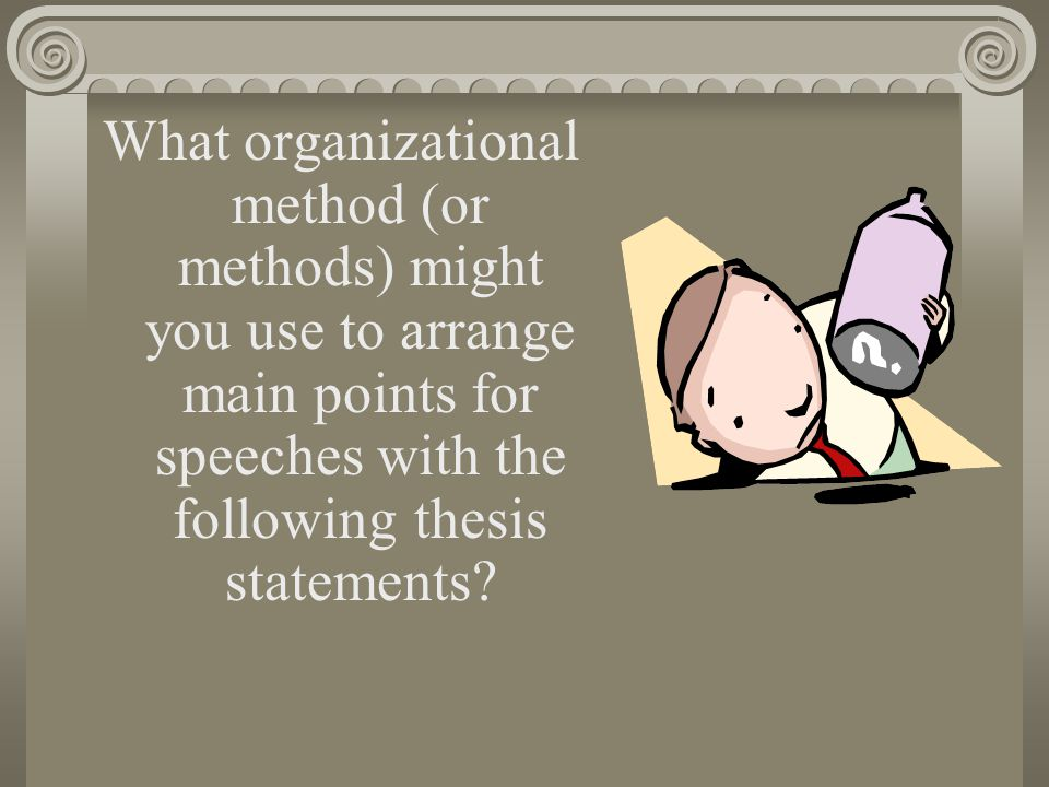 What organizational method (or methods) might you use to arrange main points for speeches with the following thesis statements?