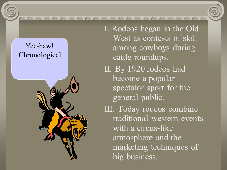 I.Rodeos began in the Old West as contests of skill among cowboys during cattle roundups.