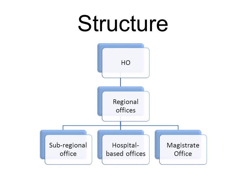 Structure HO Regional offices Sub-regional office Hospital- based offices Magistrate Office