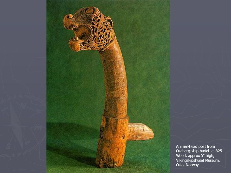 Animal-head post from Oseberg ship burial. c. 825.
