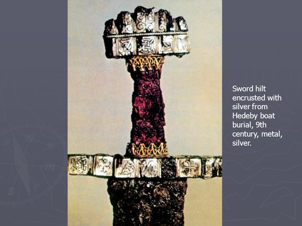 Sword hilt encrusted with silver from Hedeby boat burial, 9th century, metal, silver.