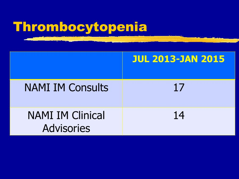 Thrombocytopenia JUL 2013-JAN 2015 NAMI IM Consults17 NAMI IM Clinical Advisories 14