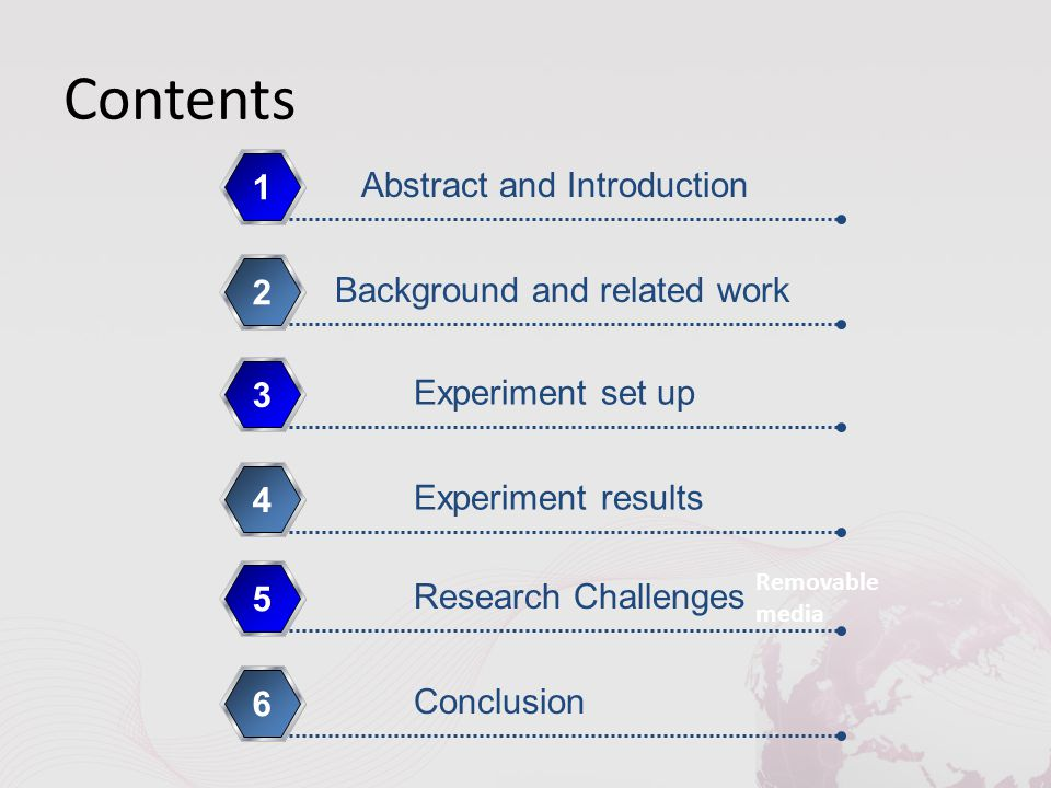 Contents Removable media Abstract and Introduction 1 Background and related work 2 Experiment set up 3 Experiment results 4 Research Challenges 5 Conc