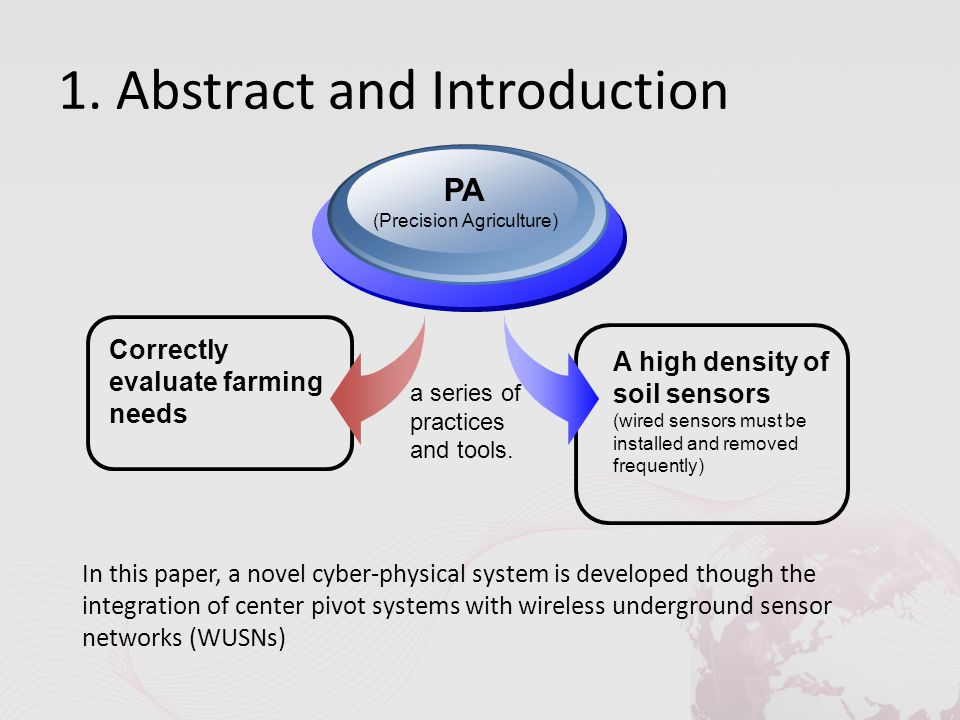 1. Abstract and Introduction Correctly evaluate farming needs PA (Precision Agriculture) A high density of soil sensors (wired sensors must be install