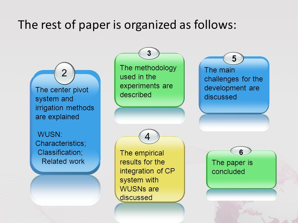 The rest of paper is organized as follows: 2 The center pivot system and irrigation methods are explained WUSN: Characteristics; Classification; Related work 3 The methodology used in the experiments are described 4 The empirical results for the integration of CP system with WUSNs are discussed 5 The main challenges for the development are discussed 6 The paper is concluded