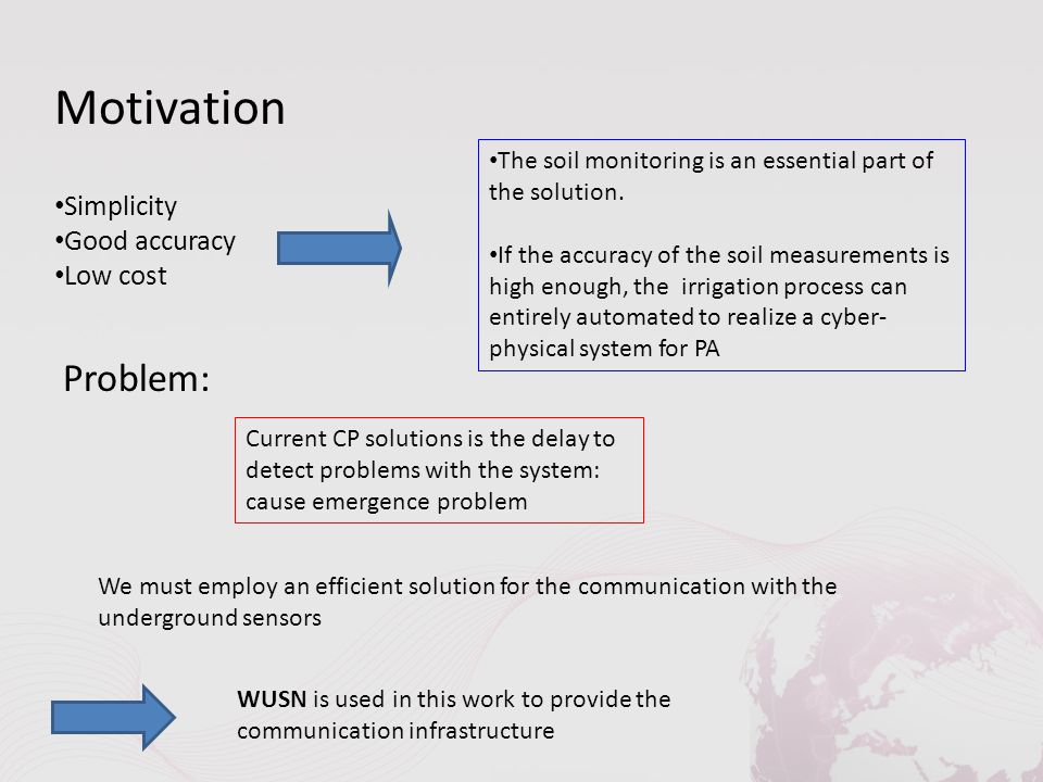 Motivation Simplicity Good accuracy Low cost The soil monitoring is an essential part of the solution.