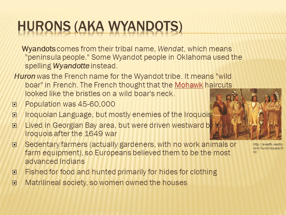 Wyandots comes from their tribal name, Wendat, which means