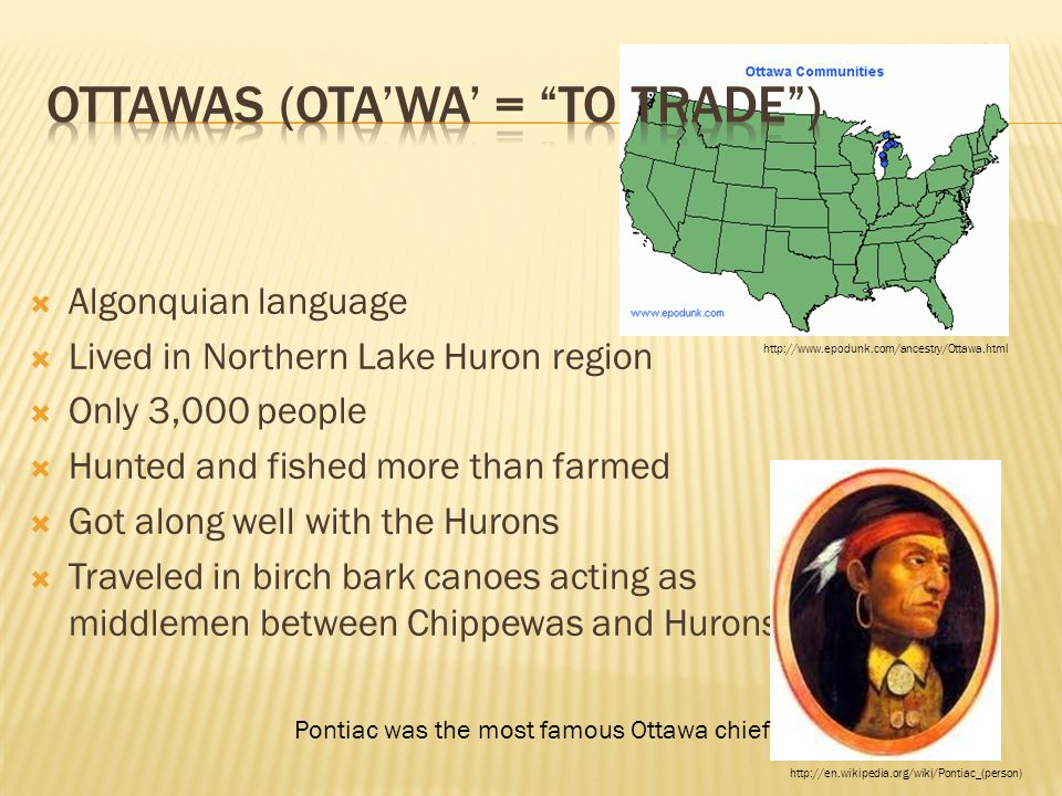  Algonquian language  Lived in Northern Lake Huron region  Only 3,000 people  Hunted and fished more than farmed  Got along well with the Hurons