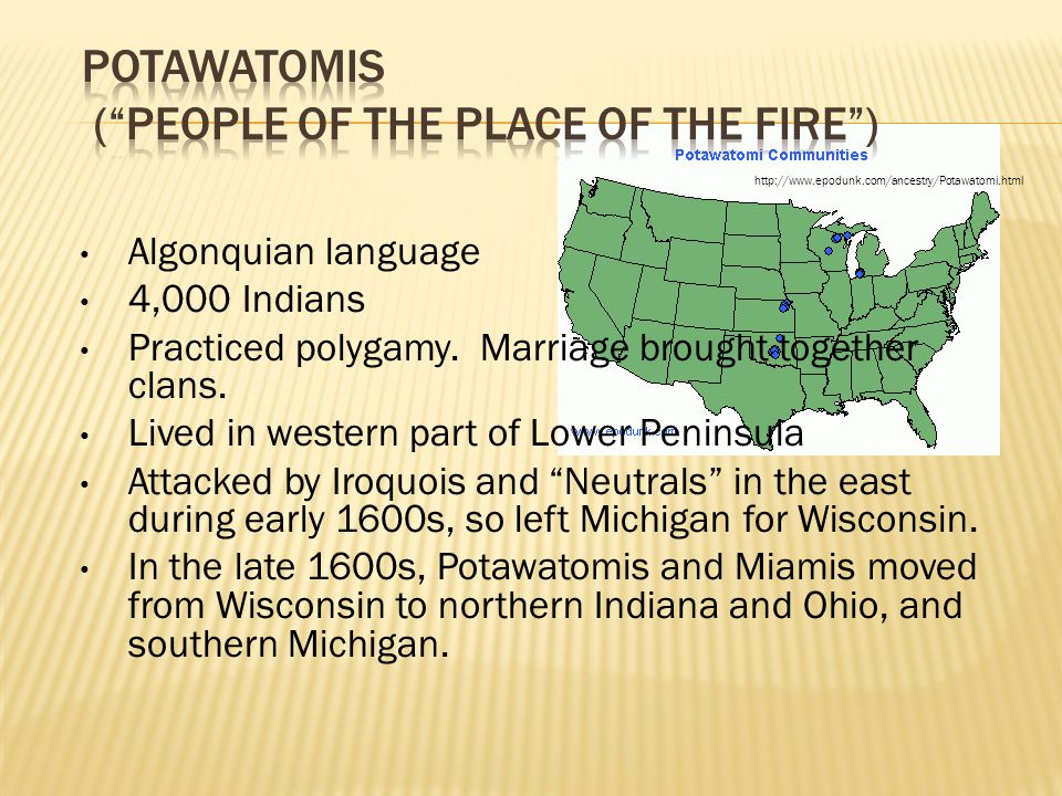 Algonquian language 4,000 Indians Practiced polygamy. Marriage brought together clans. Lived in western part of Lower Peninsula Attacked by Iroquois a