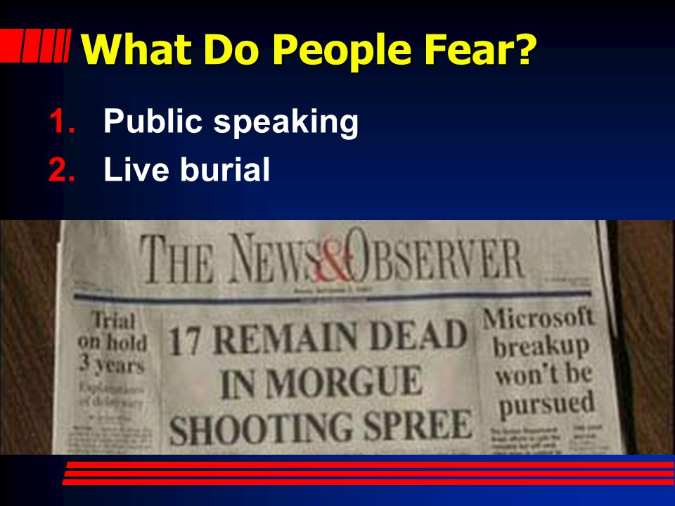 What Do People Fear 1.Public speaking 2.Live burial