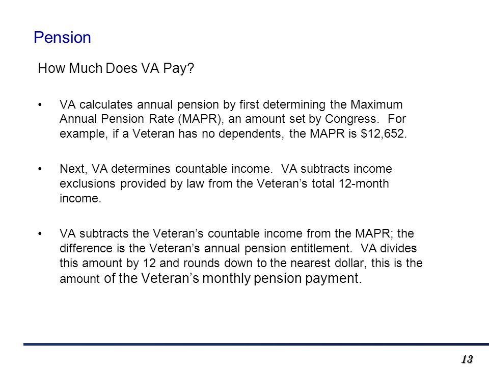 1313 Pension How Much Does VA Pay.