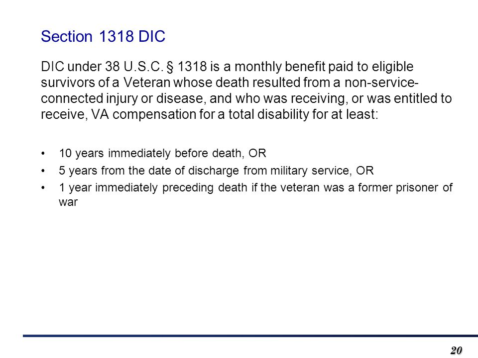 2020 Section 1318 DIC DIC under 38 U.S.C.