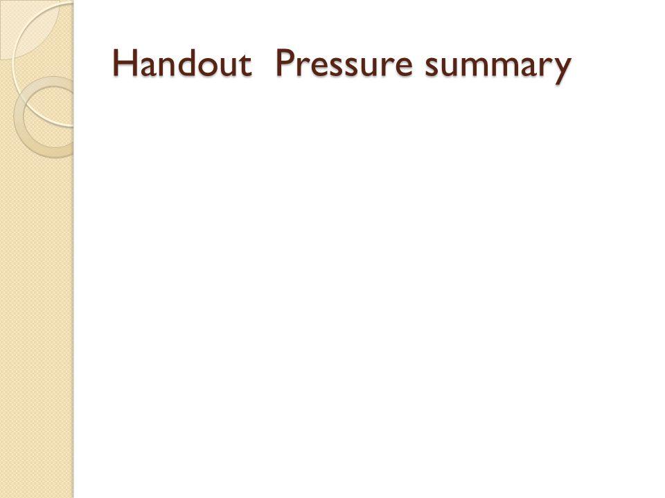 Handout Pressure summary
