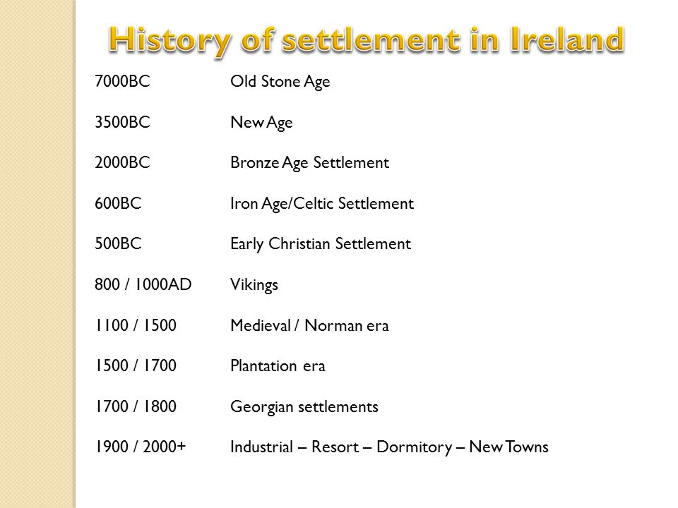 7000BC Old Stone Age 3500BC New Age 2000BC Bronze Age Settlement 600BCIron Age/Celtic Settlement 500BC Early Christian Settlement 800 / 1000AD Vikings