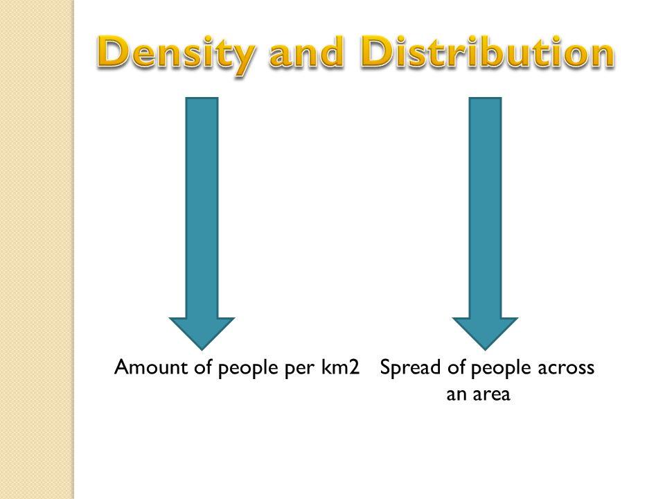 Amount of people per km2Spread of people across an area