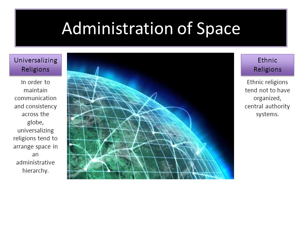 Administration of Space Universalizing Religions Ethnic Religions In order to maintain communication and consistency across the globe, universalizing religions tend to arrange space in an administrative hierarchy.