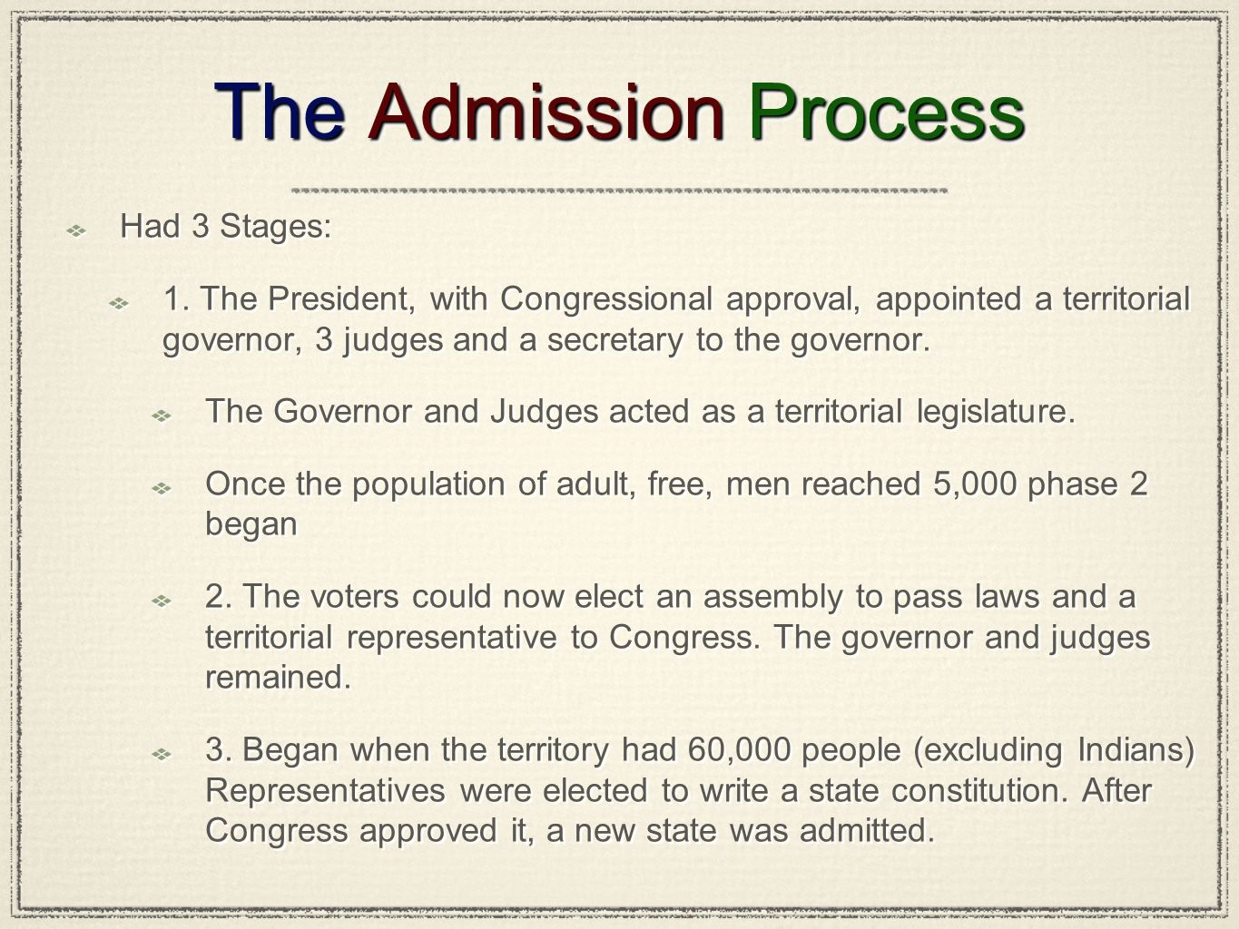 The Admission Process Had 3 Stages: 1. The President, with Congressional approval, appointed a territorial governor, 3 judges and a secretary to the g