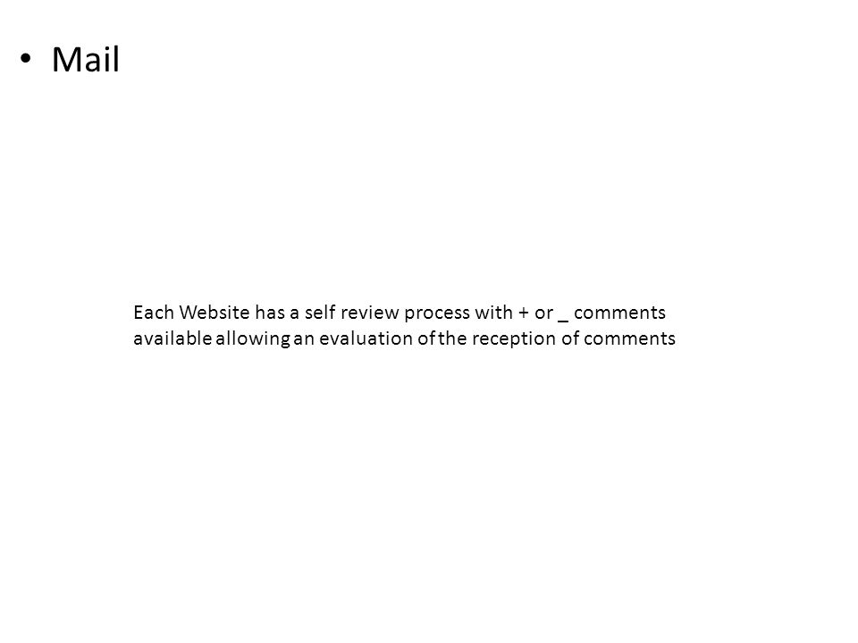 Mail Each Website has a self review process with + or _ comments available allowing an evaluation of the reception of comments