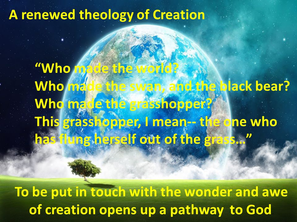 To be put in touch with the wonder and awe of creation opens up a pathway to God.