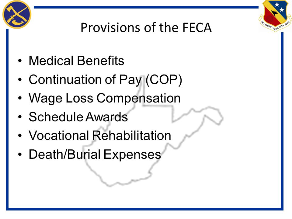 Provisions of the FECA Medical Benefits Continuation of Pay (COP) Wage Loss Compensation Schedule Awards Vocational Rehabilitation Death/Burial Expenses