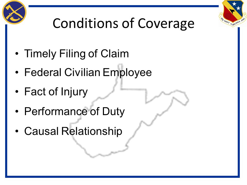 Conditions of Coverage Timely Filing of Claim Federal Civilian Employee Fact of Injury Performance of Duty Causal Relationship