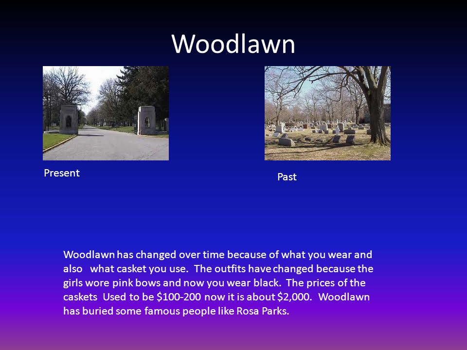 Woodlawn Woodlawn has changed over time because of what you wear and also what casket you use.