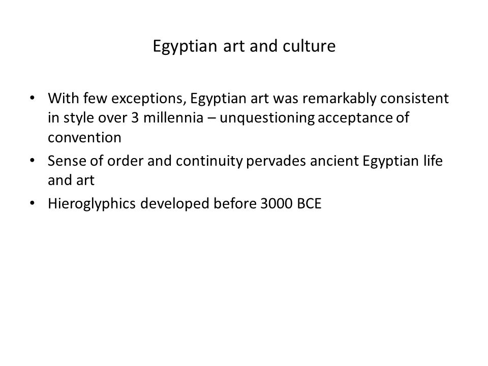 Sculpture Depiction of humans: – Bodies are slim and athletic, rather rigid – Clothes are thin and cling to the body – The king wears a false beard and headdress to symbolize rank – Statues of humans were built to last for eternity in case the mummy was destroyed – A set of standard poses was established in the Old Kingdom and went unchanged for 3,000 years.
