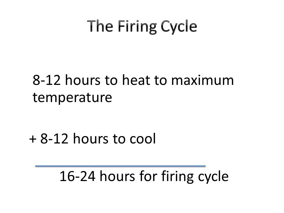 8-12 hours to heat to maximum temperature + 8-12 hours to cool 16-24 hours for firing cycle