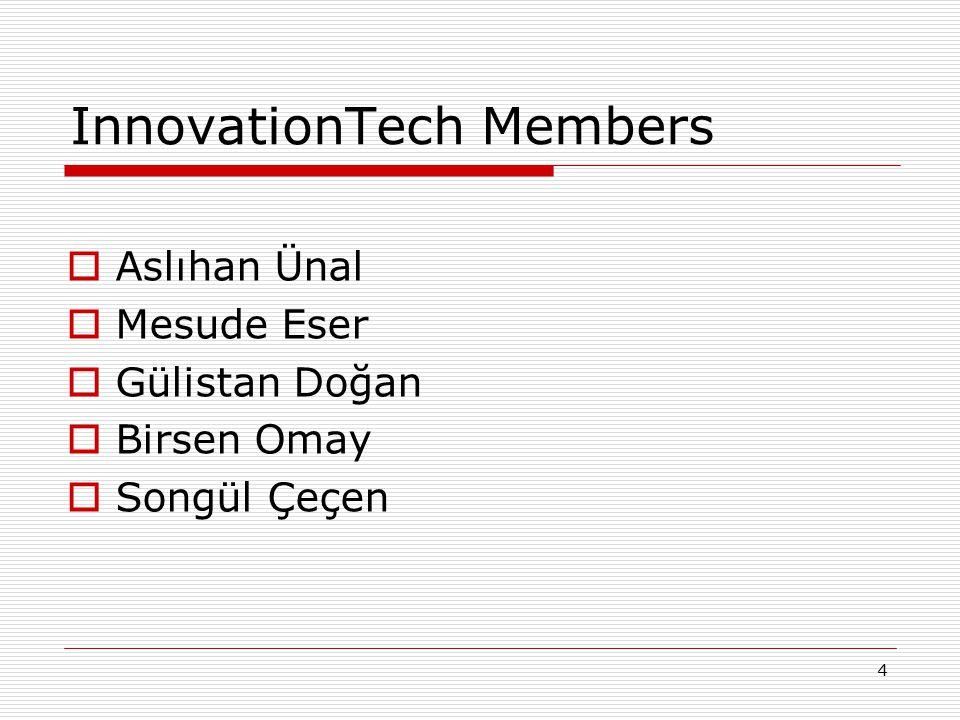 4 InnovationTech Members  Aslıhan Ünal  Mesude Eser  Gülistan Doğan  Birsen Omay  Songül Çeçen