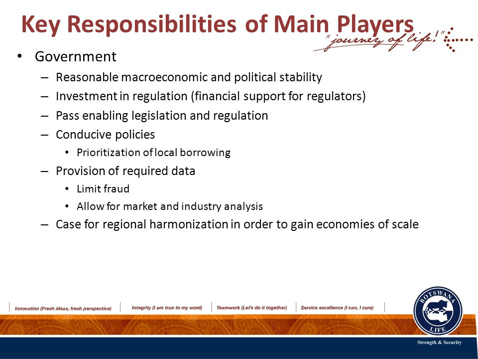 Key Responsibilities of Main Players Government – Reasonable macroeconomic and political stability – Investment in regulation (financial support for regulators) – Pass enabling legislation and regulation – Conducive policies Prioritization of local borrowing – Provision of required data Limit fraud Allow for market and industry analysis – Case for regional harmonization in order to gain economies of scale