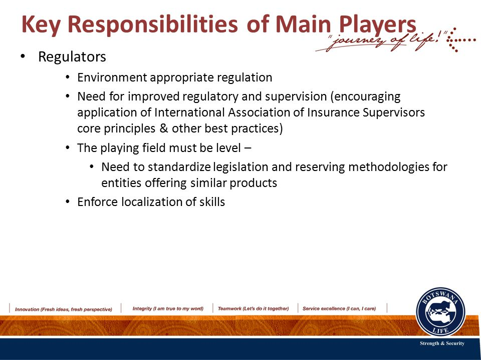 Key Responsibilities of Main Players Regulators Environment appropriate regulation Need for improved regulatory and supervision (encouraging application of International Association of Insurance Supervisors core principles & other best practices) The playing field must be level – Need to standardize legislation and reserving methodologies for entities offering similar products Enforce localization of skills