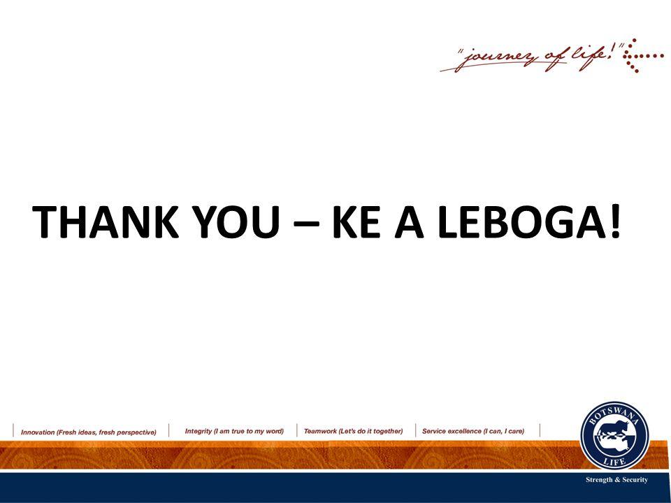 THANK YOU – KE A LEBOGA!