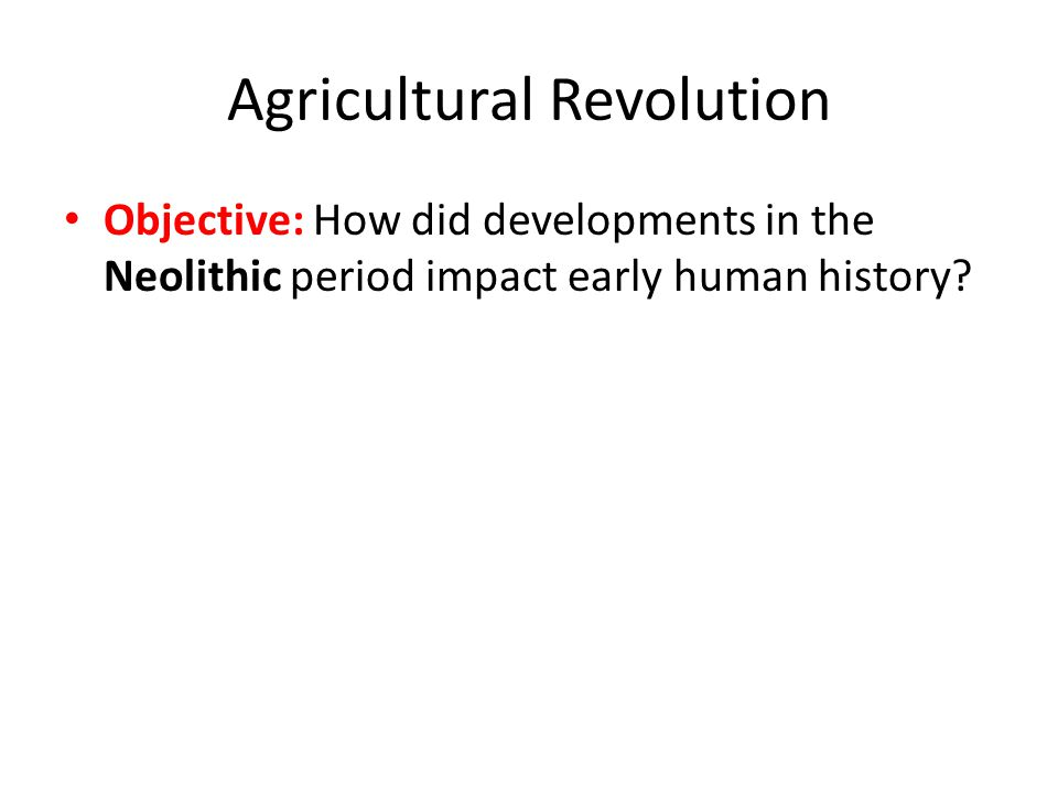 Agricultural Revolution Objective: How did developments in the Neolithic period impact early human history?