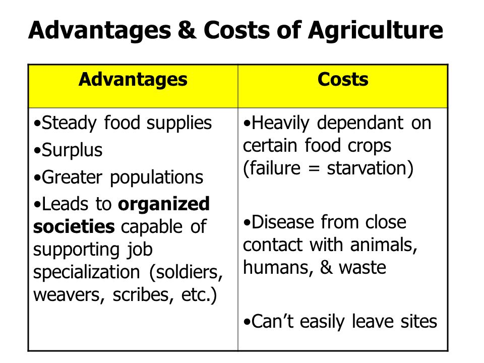 Advantages & Costs of Agriculture AdvantagesCosts Steady food supplies Surplus Greater populations Leads to organized societies capable of supporting