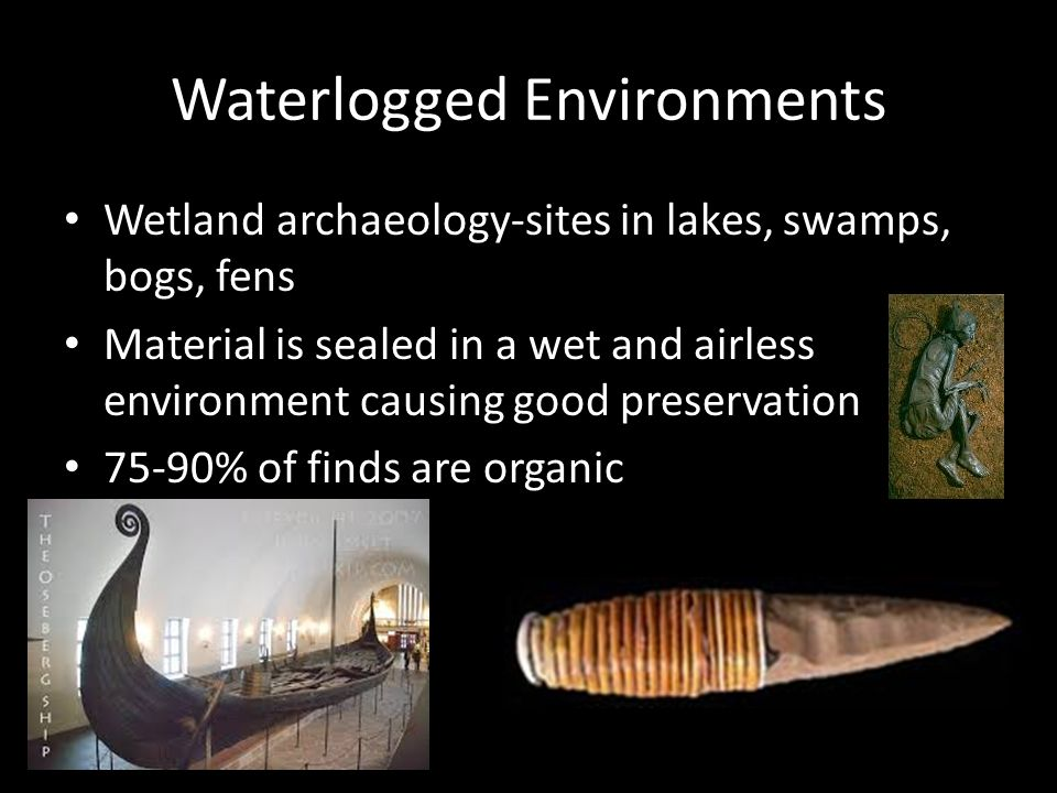 Waterlogged Environments Wetland archaeology-sites in lakes, swamps, bogs, fens Material is sealed in a wet and airless environment causing good preservation 75-90% of finds are organic