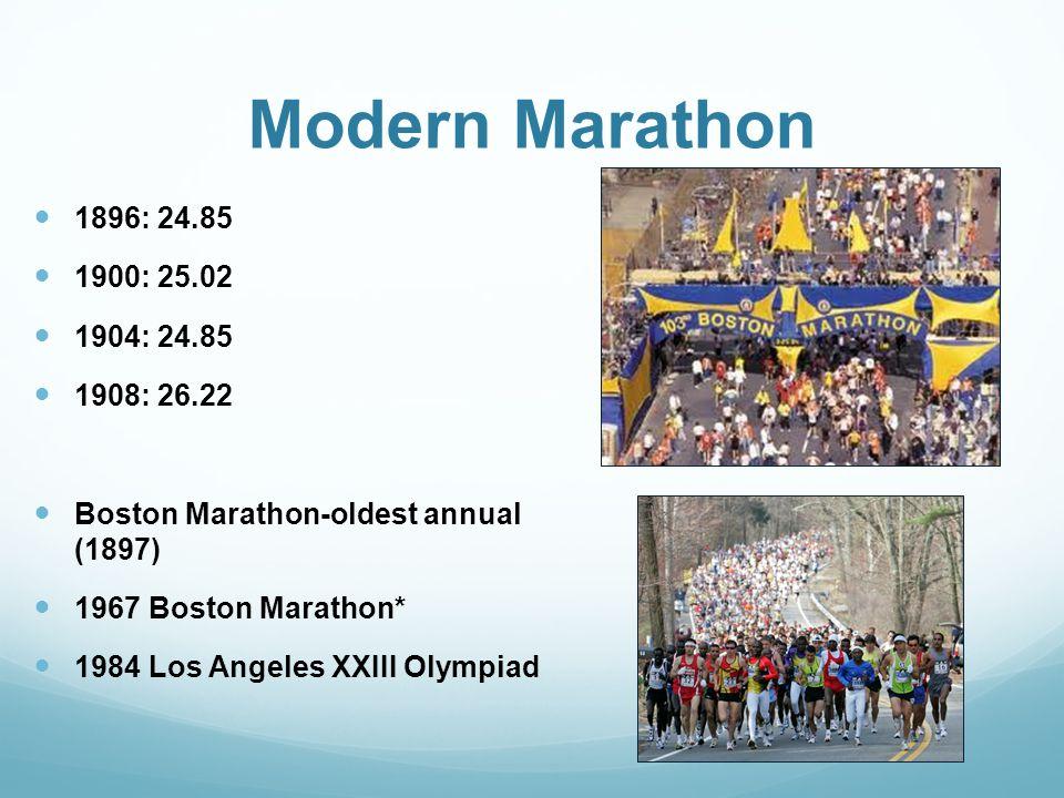 Modern Marathon 1896: 24.85 1900: 25.02 1904: 24.85 1908: 26.22 Boston Marathon-oldest annual (1897) 1967 Boston Marathon* 1984 Los Angeles XXIII Olympiad