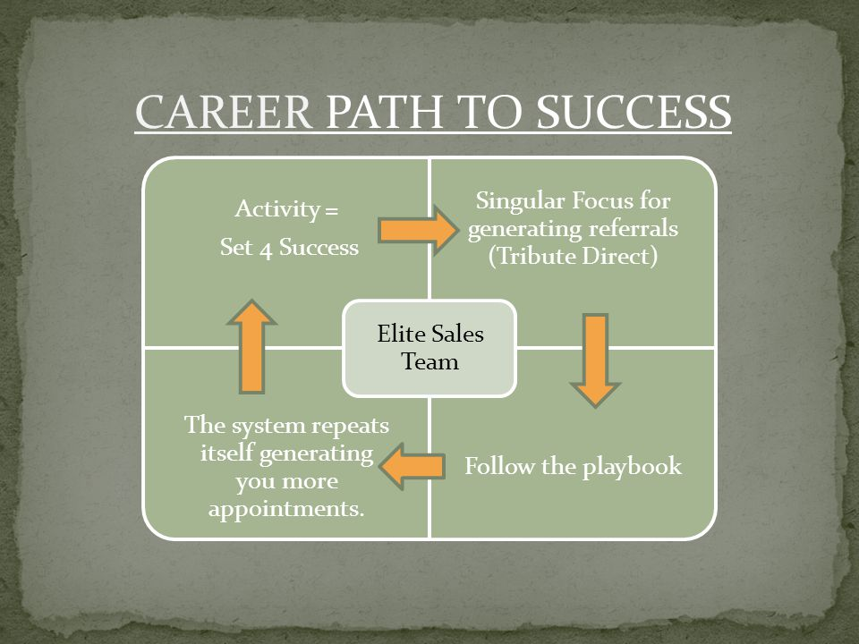CAREER PATH TO SUCCESS Activity = Set 4 Success Singular Focus for generating referrals (Tribute Direct) The system repeats itself generating you more appointments.