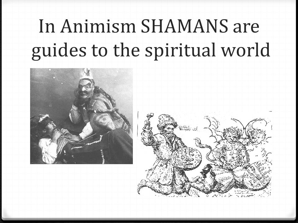 In Animism SHAMANS are guides to the spiritual world