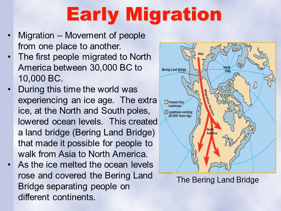 Early Migration Migration – Movement of people from one place to another.