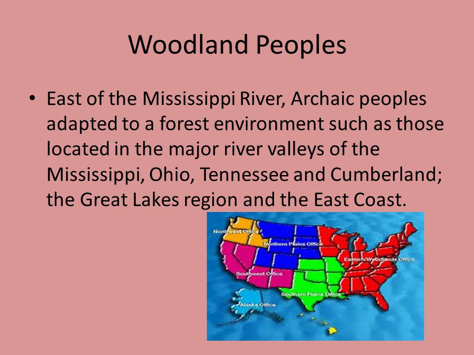 Woodland Peoples East of the Mississippi River, Archaic peoples adapted to a forest environment such as those located in the major river valleys of the Mississippi, Ohio, Tennessee and Cumberland; the Great Lakes region and the East Coast.